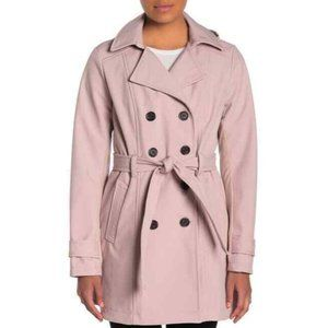 Sebby Collection Trench Coat Pink Double Breasted
